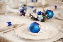 White and blue table decorations Stock Image