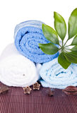 White and blue towels Royalty Free Stock Image