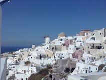 White and Blue. A view of Santorini Island, Greece and its white houses Stock Photo