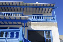 White and blue villa with  balcony Stock Photography