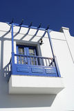 White and blue villa with  balcony Royalty Free Stock Images