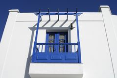 White and blue villa with  balcony Royalty Free Stock Photos