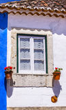 White Blue Wall Flowers Street Mediieval City Obidos Portugal Stock Images