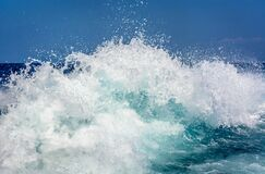 White and Blue Wave Rush Royalty Free Stock Photography