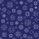 White blue winter snowflake outline seamless vector pattern Stock Images