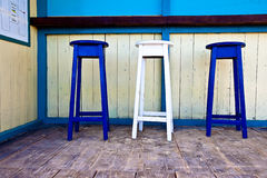 White & blue wooden bar chairs Royalty Free Stock Photography
