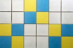 White, blue and yellow tiles Royalty Free Stock Images