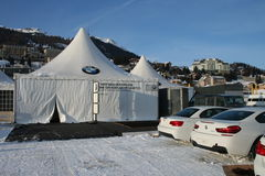 White BMW. Cars exhibited at a tent during a horse race on the frozen lake of St Moritz, Switzerland: 6 type and 3 type coupe Royalty Free Stock Images