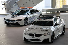 White BMW Sport Safety Cars Stock Image