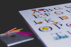 White Board With Alphabet Royalty Free Stock Photo
