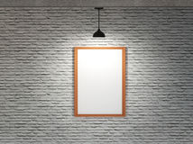 White board on brick wall with ceiling lamp Royalty Free Stock Images