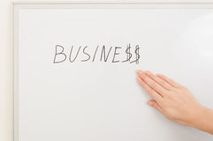 White board with business inscription. Closeup on business woman showing on white board Royalty Free Stock Photos