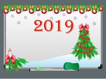 White board with Christmas and New Year decorations and the year 2019. vector illustration
