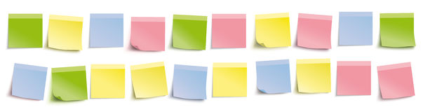 White Board Colored Sticks Header. Colored stickers on the white background Stock Illustration