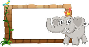 A white board, an elephant and birds Royalty Free Stock Photo