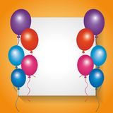 White board empty with frame balloons decoration. Vector illustration Stock Image
