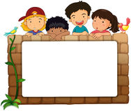 A white board, kids and birds Stock Images