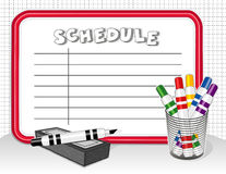White Board Schedule, Markers, Eraser. Copy space to create your schedule on this red frame dry erase white board with colored marker pens and eraser for home Royalty Free Stock Photo