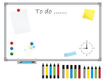 White board with stationery Royalty Free Stock Image