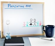 A white board used for parenting classes and sex education in highschool or university. stock images