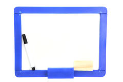 White Board With Colored Markers Isolated In White Royalty Free Stock Images