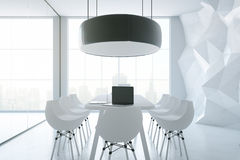 White boardroom. Side view of white boardroom with equipment, city view and daylight. 3D Rendering Stock Image