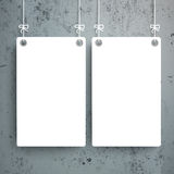 2 White Boards Concrete. White boards on the concrete background Royalty Free Stock Photos