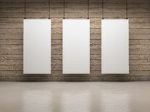 White boards. White empty exhibitor board hang in a room with beautiful light Royalty Free Stock Image