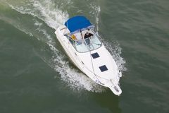 White boat. White powerboat in a river Royalty Free Stock Photography