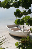White boat. Fisherman's boat at the beach Stock Photo