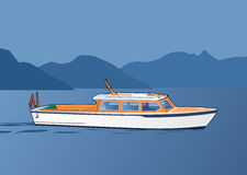White boat. Tourist boat on the background of the island. Simple gradients only - no gradient mesh Royalty Free Stock Images