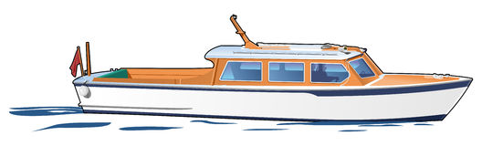 White boat. Tourist boat on white background,. Simple gradients only - no gradient mesh Royalty Free Stock Photos