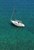 White boat on Adriatic sea Stock Photos