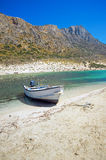 The white boat on the bank of Balos lagoon Royalty Free Stock Photo