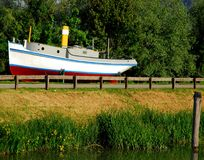 White boat in Battaglia Terme small town in the province of Padua in the Veneto (Italy) Royalty Free Stock Photos