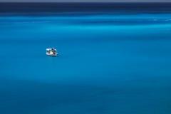 White boat in beautiful sea water. Beautiful landscape. White boat in sea water Stock Photo