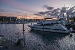 White boat at dock. royalty free stock images