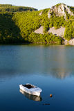 White Boat on the lake Royalty Free Stock Images