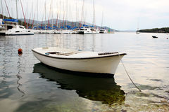 White boat and luxury yachts Stock Image