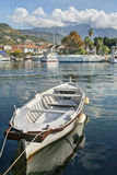 White boat in marina Stock Images
