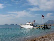 White boat mooring on the sea. Turkey Royalty Free Stock Image
