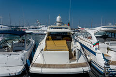 White boat in the port. Many beautiful moored boats in the sea port Royalty Free Stock Images