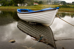 White boat during rainy day Stock Image
