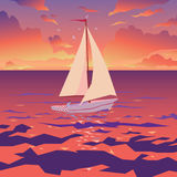 White boat with sail and red flag. Sunset on tropical ocean. Vector. White boat with sail and red flag. Tropical ocean with calm waves and seagulls. Sunset sky Stock Image