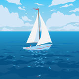 White boat with sail and red flag. Tropical ocean with calm waves and seagulls. Summer sky with clouds. Vector illustration of seascape with sailboat in flat vector illustration