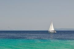 White boat at an open sea, Croatia Royalty Free Stock Photography