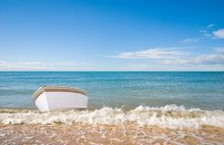 White boat and sea Royalty Free Stock Images
