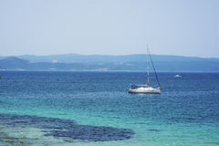 White boat in the sea in Greece Stock Photos
