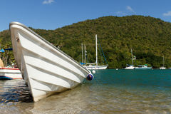 White Boat On Tropical Beach Royalty Free Stock Photo
