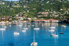 White Boats in Blue Bay off St Thomas Stock Photo